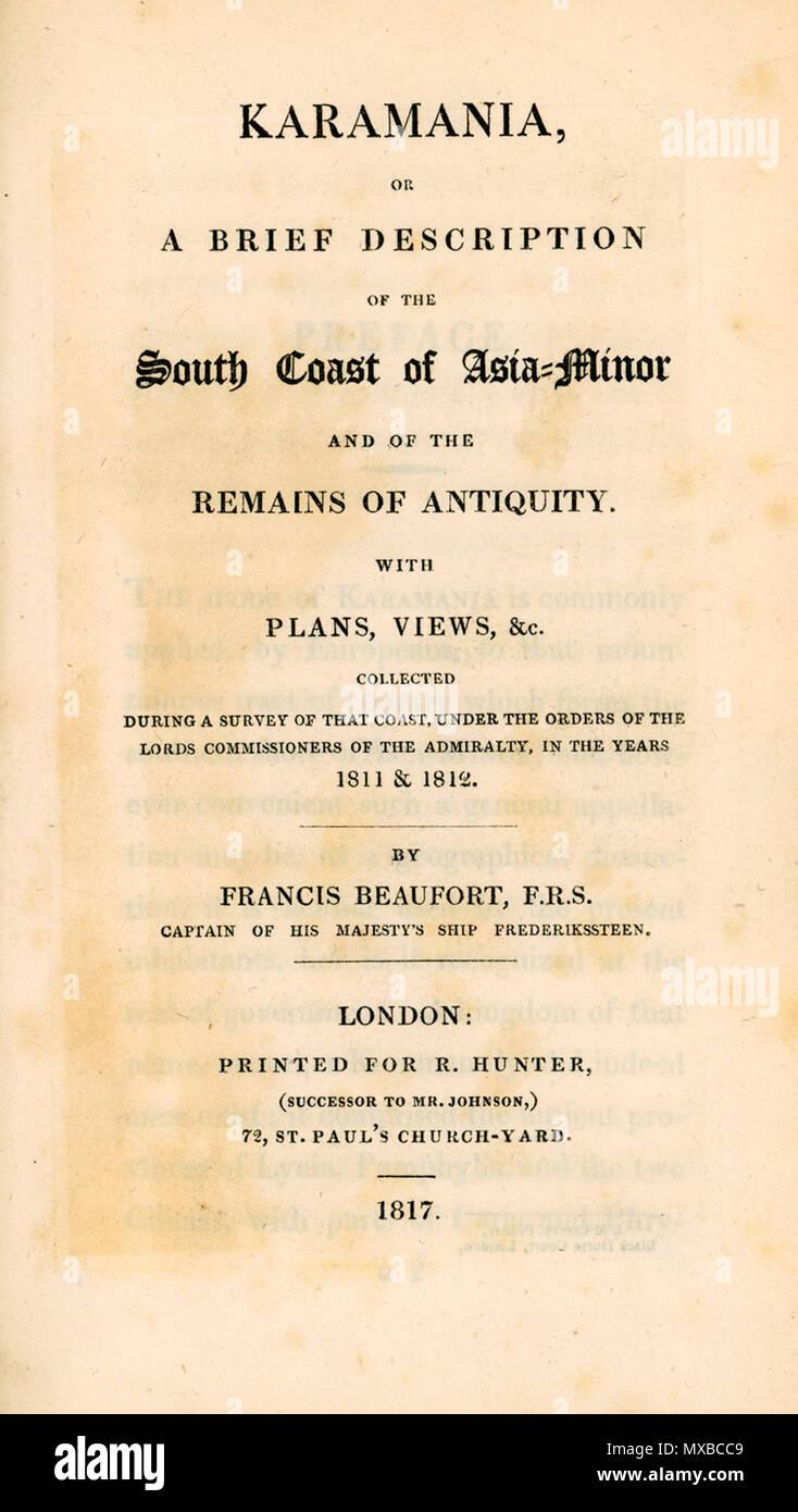 Englisch Karamania Titelseite Beaufort Francis F 1817 1817