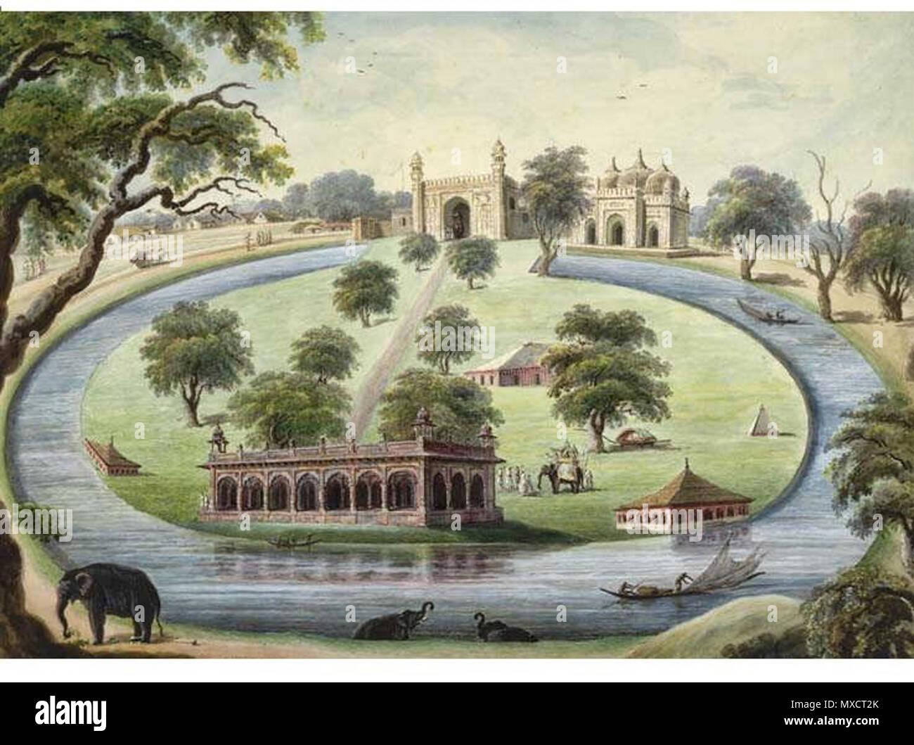 . Englisch: ein Panoramablick auf die Malerei der Maotijhil Palace, See, Moscheen und Grabstätten. (Unbekannt). (Unbekannt) 427 Moti jheel Palace 2 Stockbild
