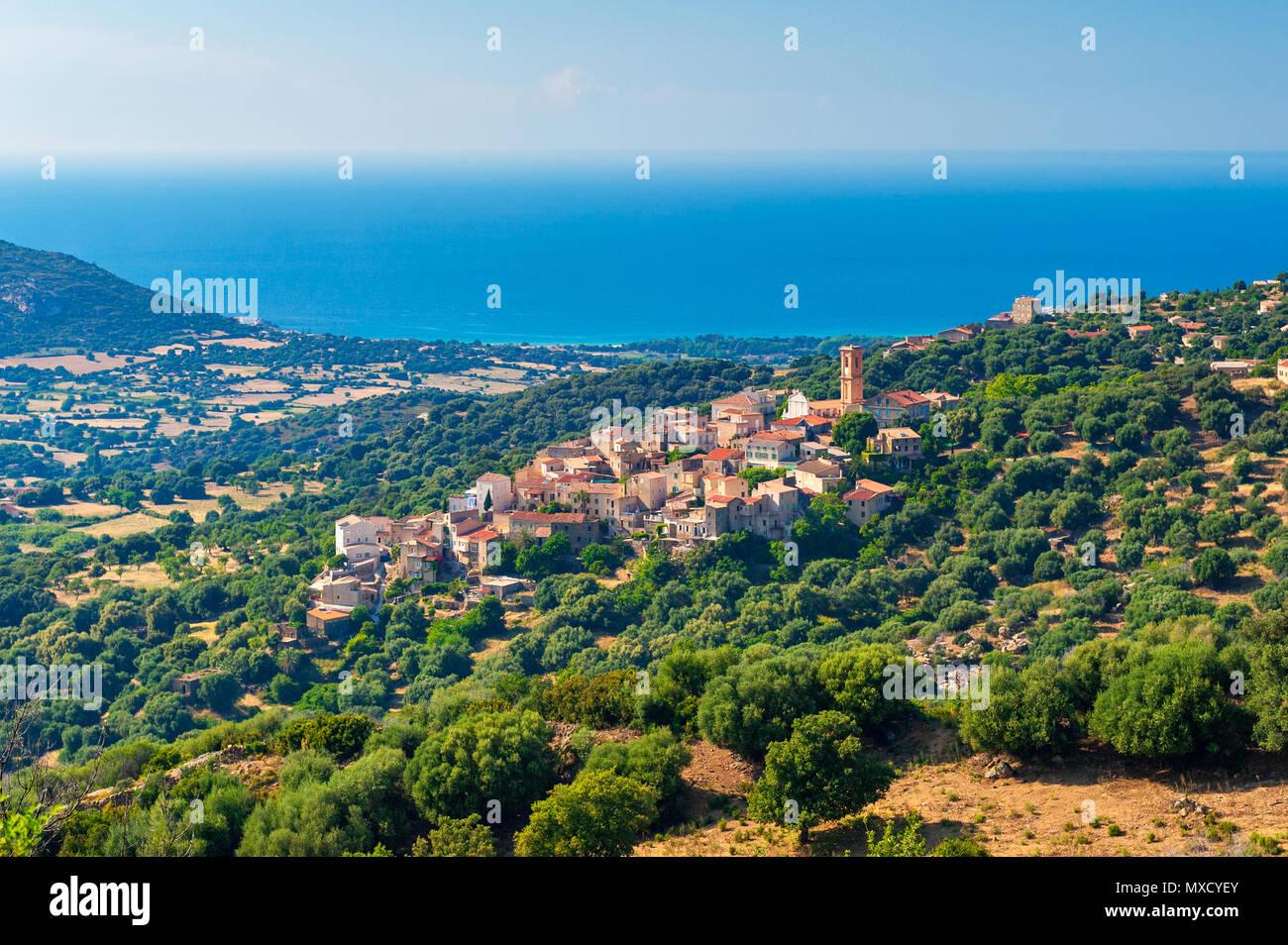 Dorf Sant'Antonino in Korsika Frankreich Stockbild