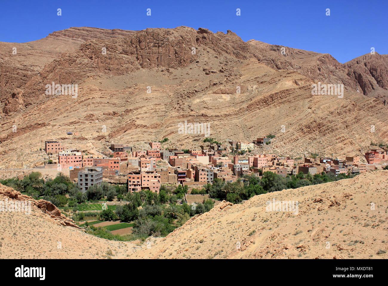 Tinerhir (Blue Mountains), Todra Schlucht Tal, Marokko Stockbild