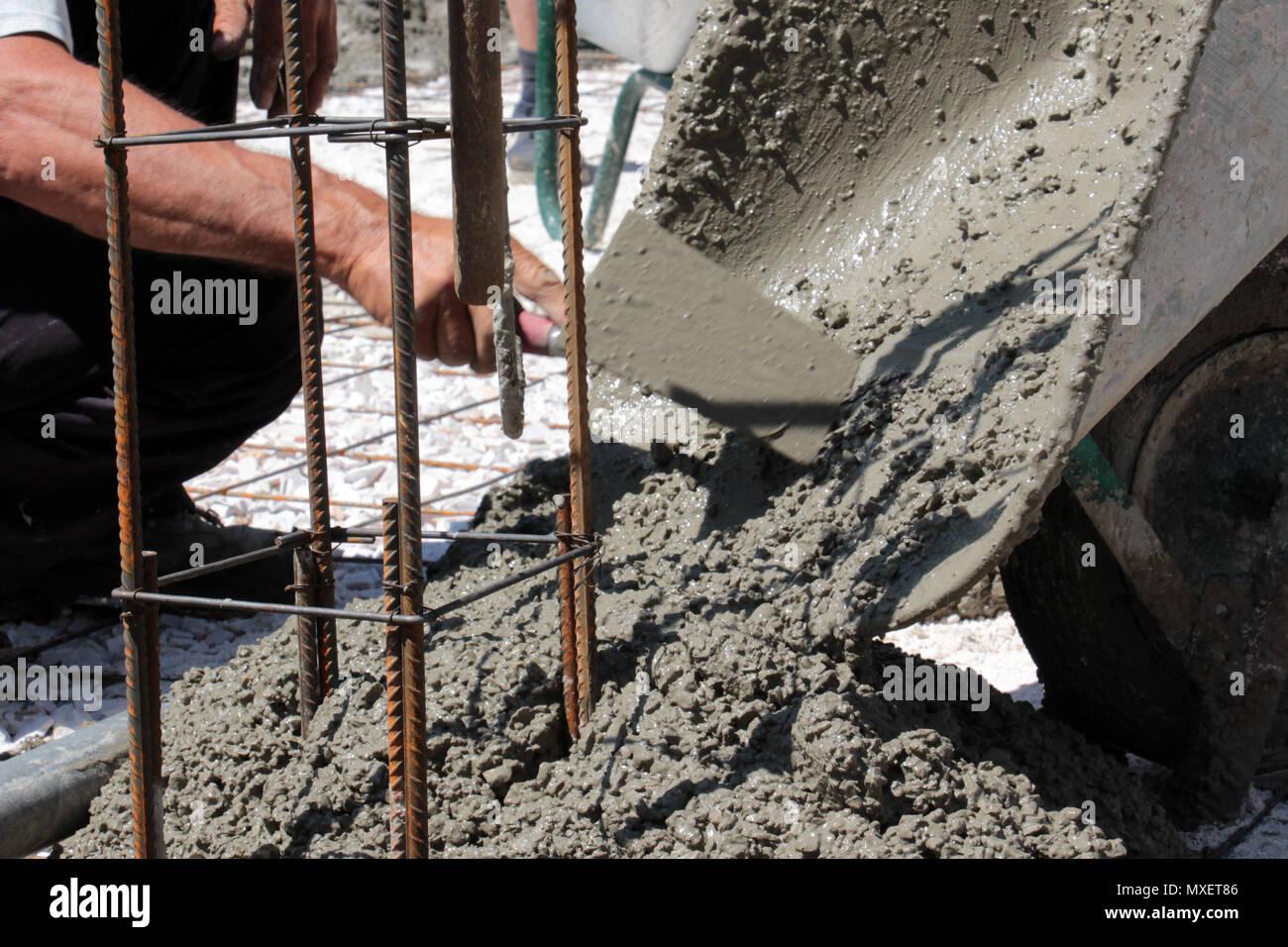 Der Boden Von Einem Neuen Haus Betonieren Betonieren Bild Stockfoto