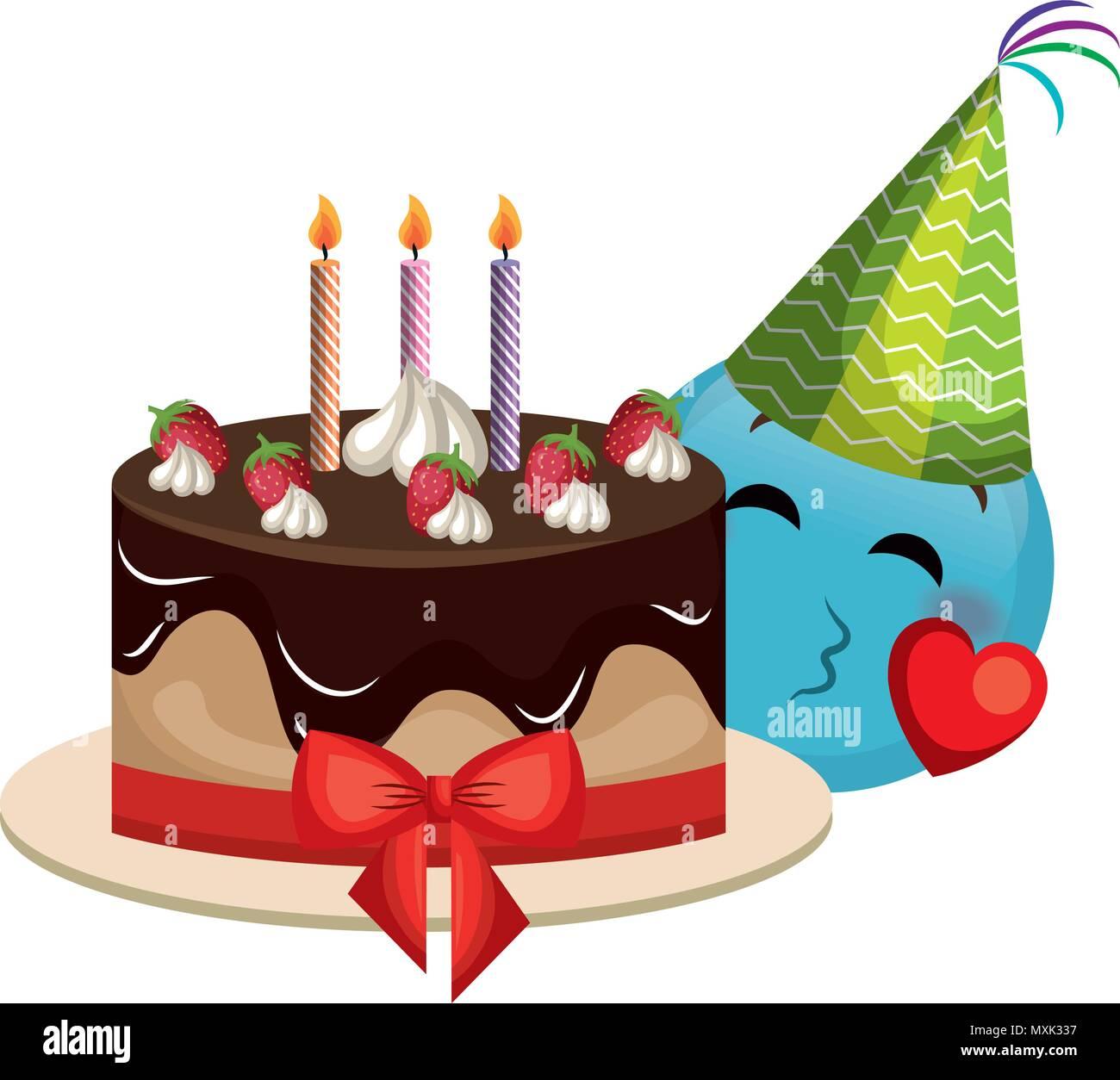 Emoji Gesicht Mit Party Hut Und Kuchen Vektor Abbildung Bild