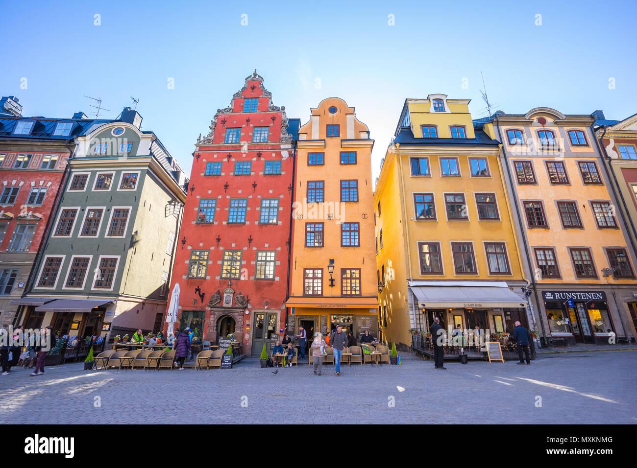 Stockholm, Schweden - 4. Mai 2017: Altstadt Gamla Stan in Stockholm, Schweden. Stockbild
