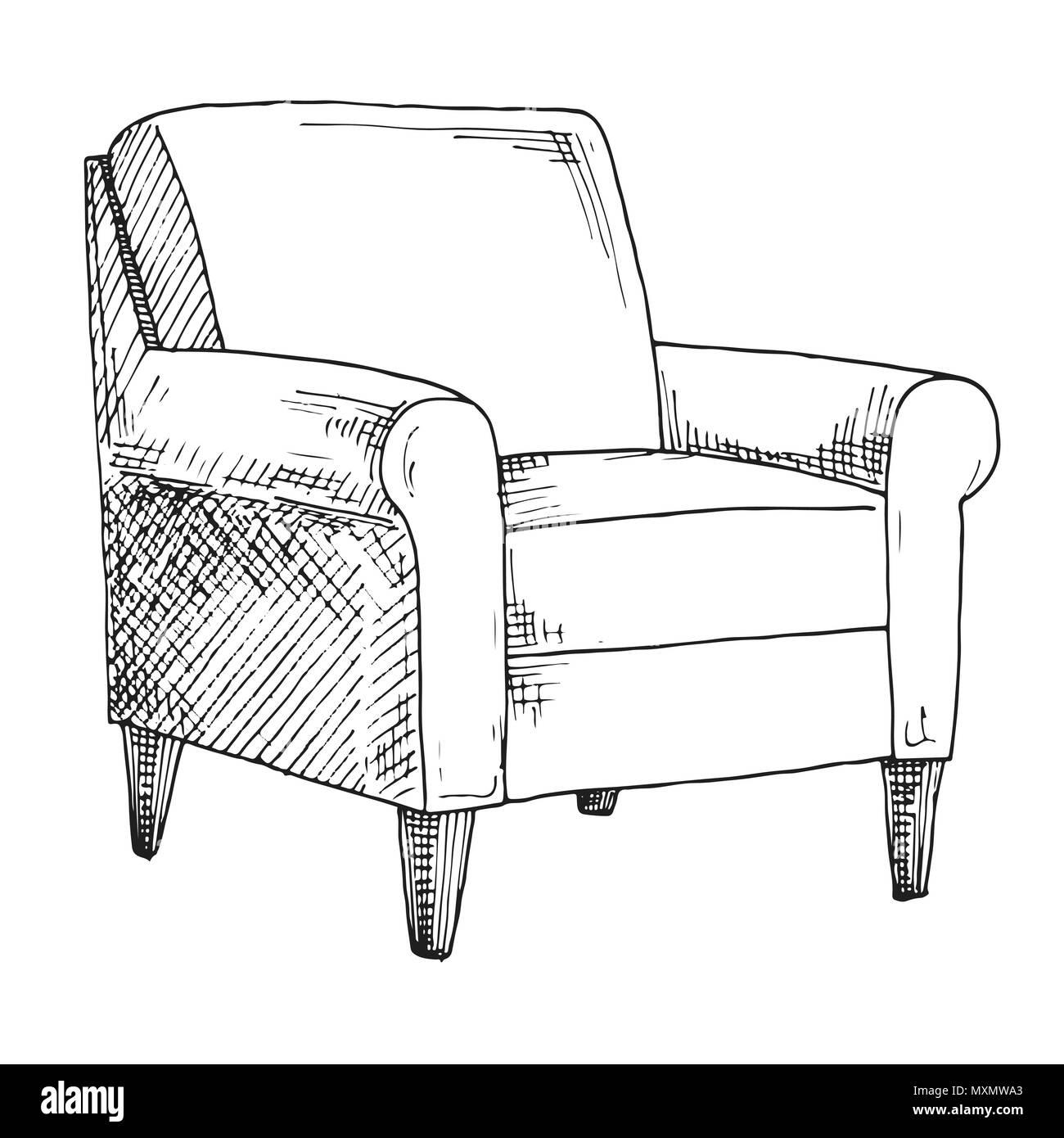 Stuhl Skizze Isoliert Auf Weissem Hintergrund Vector