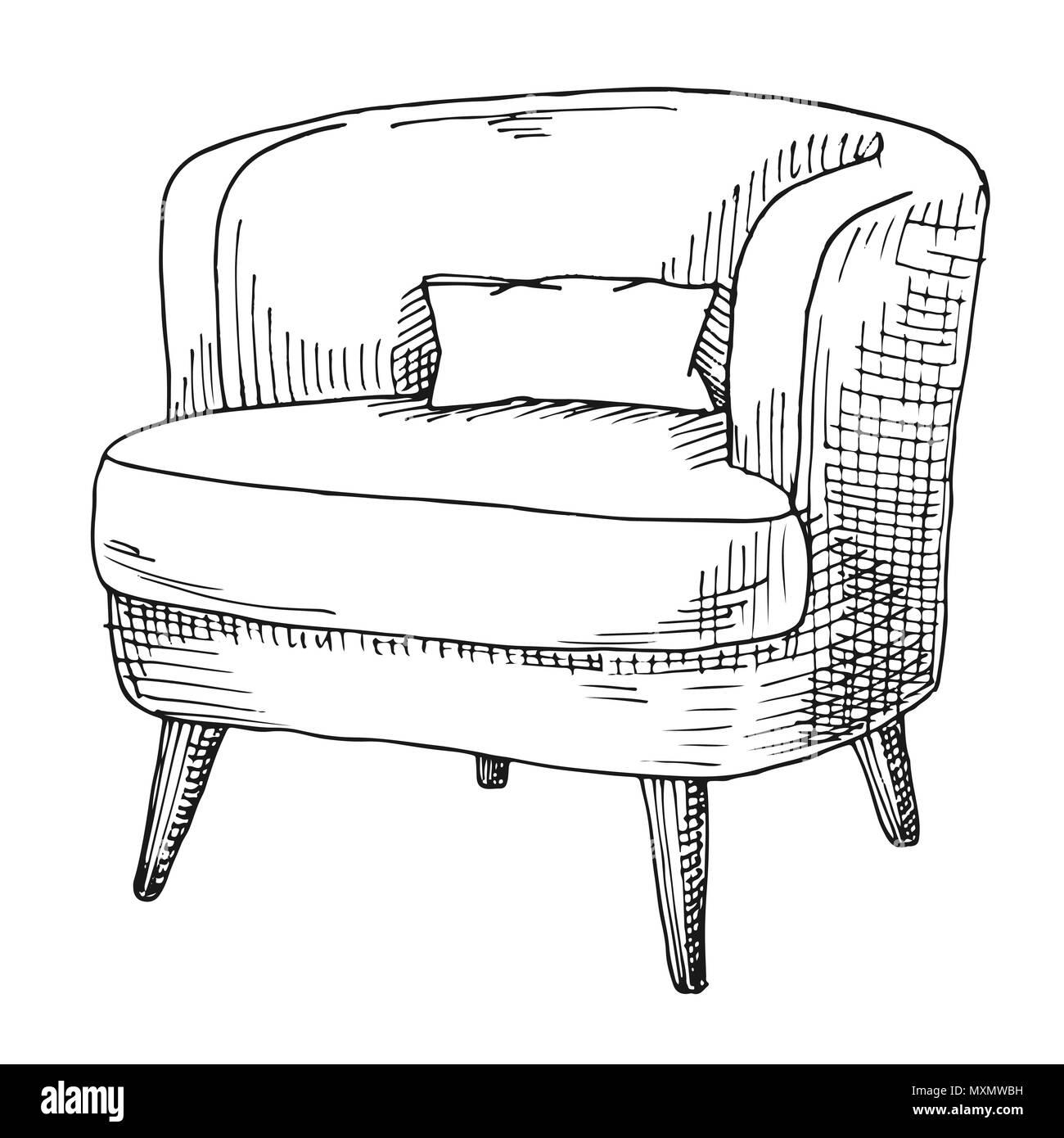 Hand Einen Weichen Stuhl Mit Einem Kissen Vector