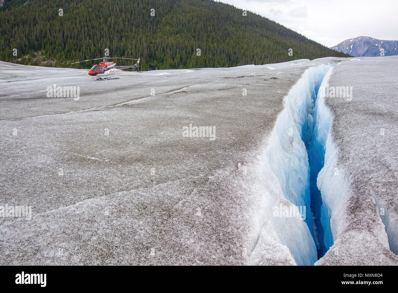 Gletscherspalte in Juneau Icefield, Mendenhall Gletscher, Alaska, North Pacific, USA Stockbild