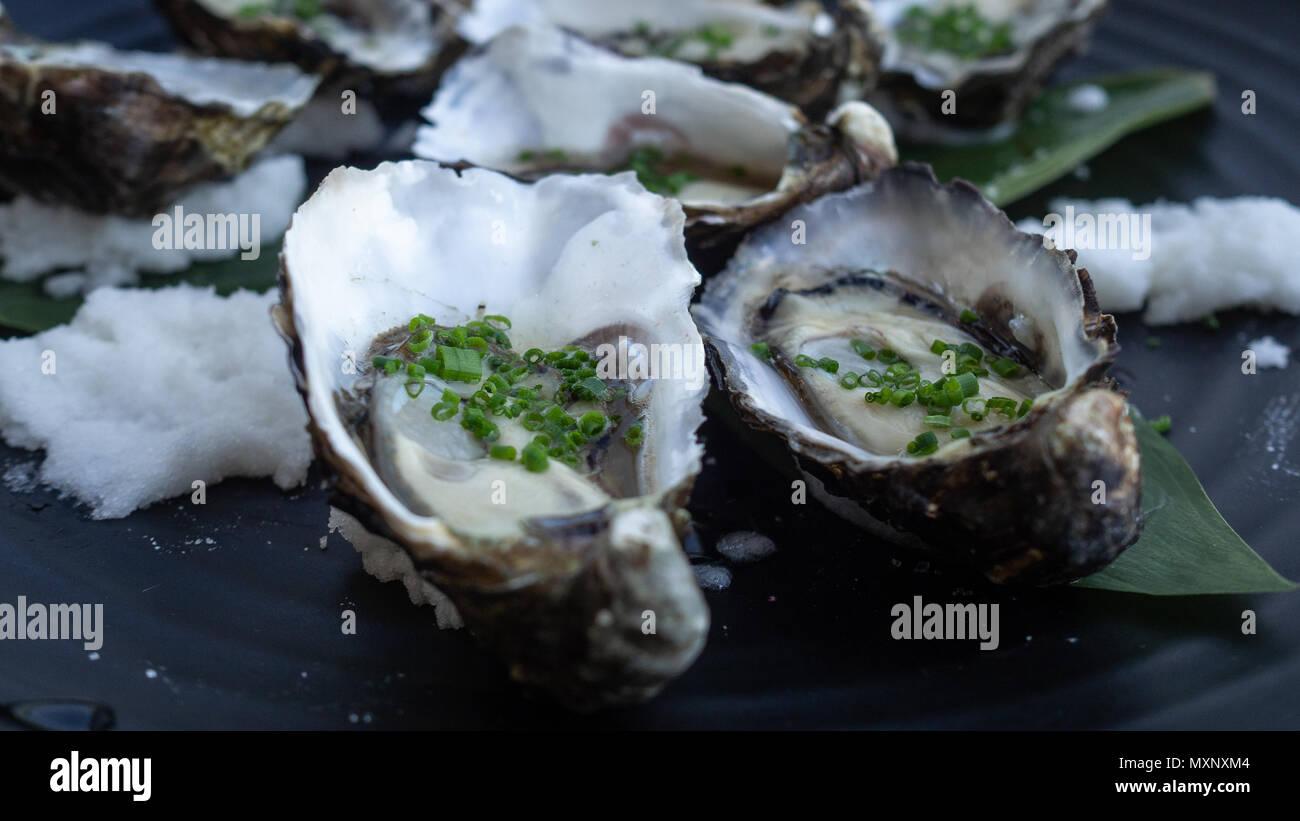 Kanapees: frische Austern garniert mit Frühlingszwiebel und Steinsalz Stockbild