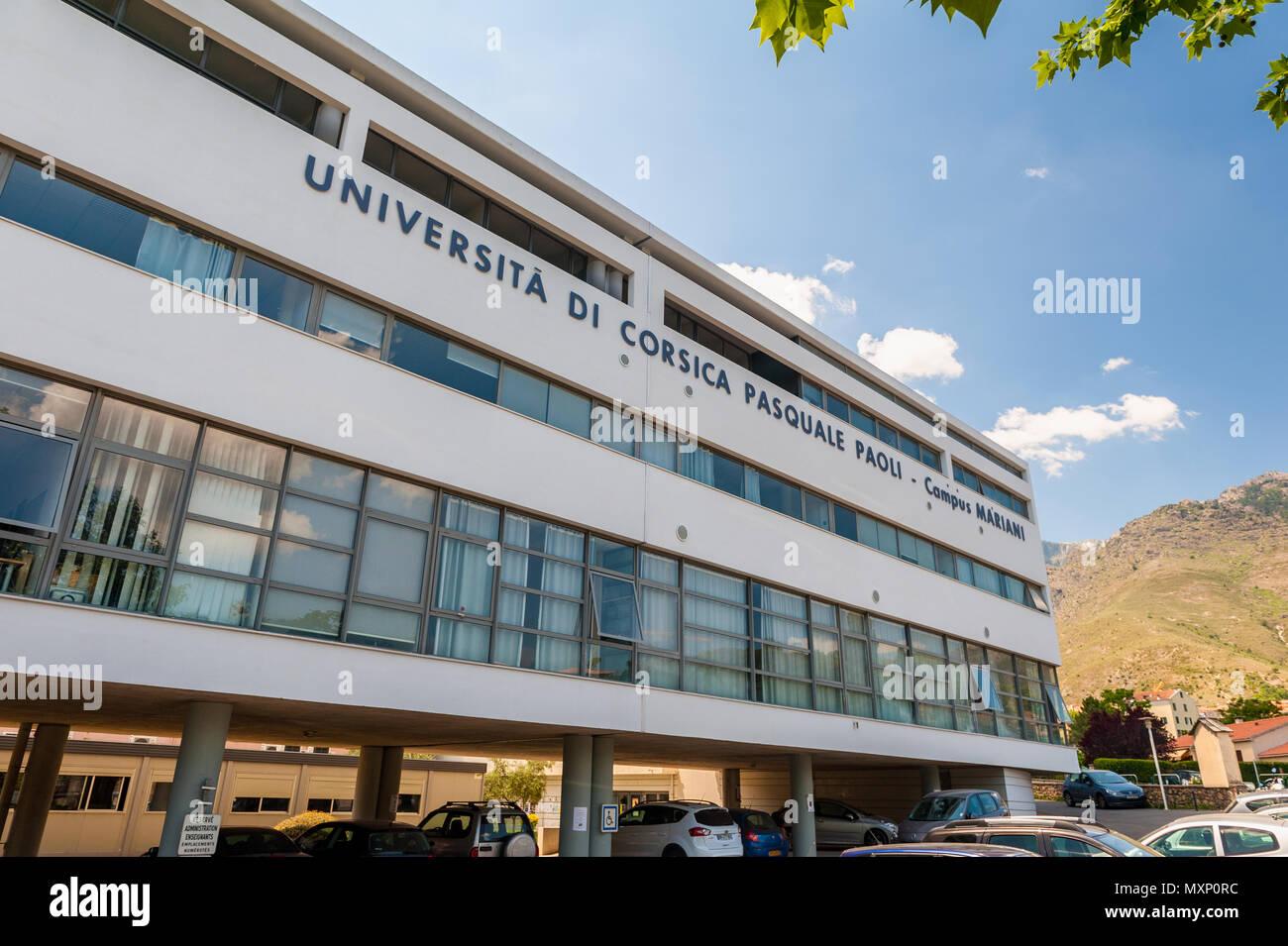 Die Universität von Korsika Pasquale Paoli ist eine französische Universität in Corte, Korsika, Frankreich. Pasquale Paoli war einer korsischen Patrioten. Stockbild
