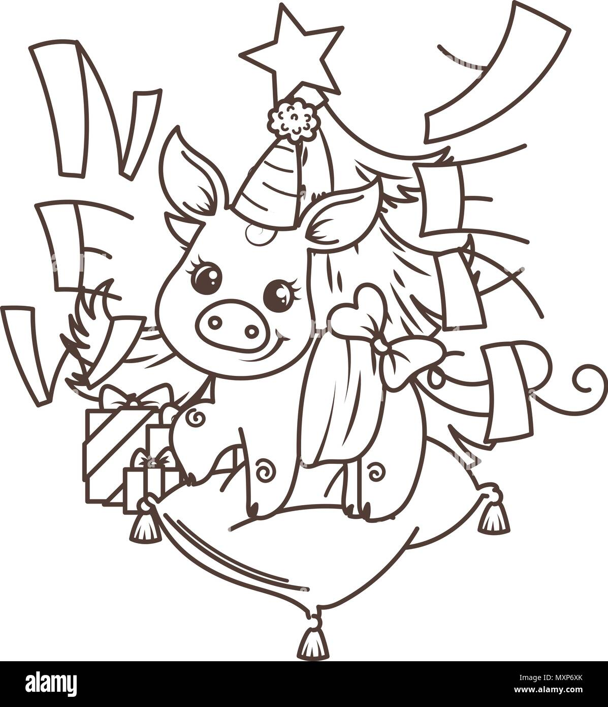 Frohes Neues 2019 Jahr Karte mit Cartoon baby Schwein. Kleine vektor ...