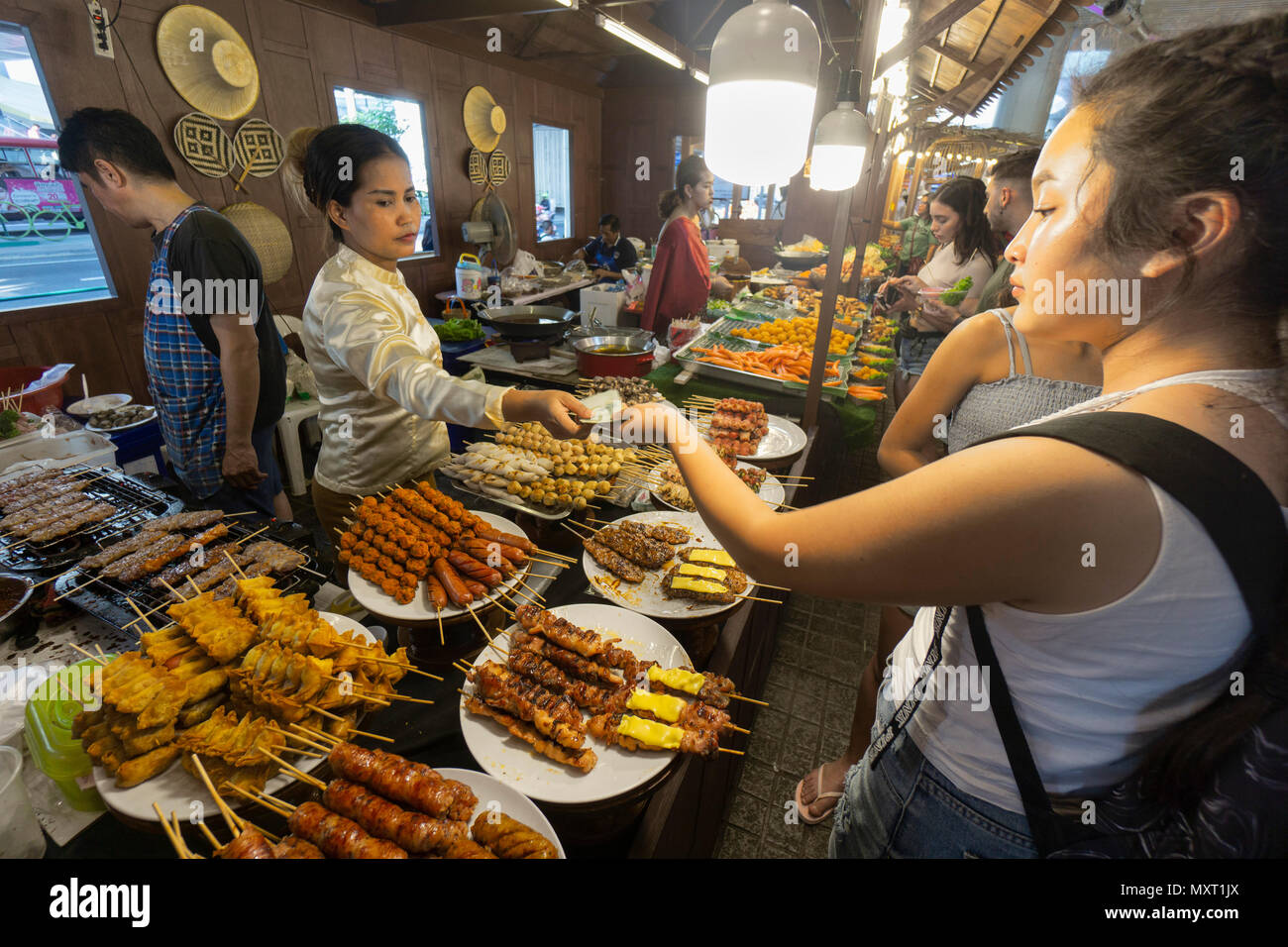 Street Food Market, MBK Shopping Centre, Bangkok, Thailand, Stockbild