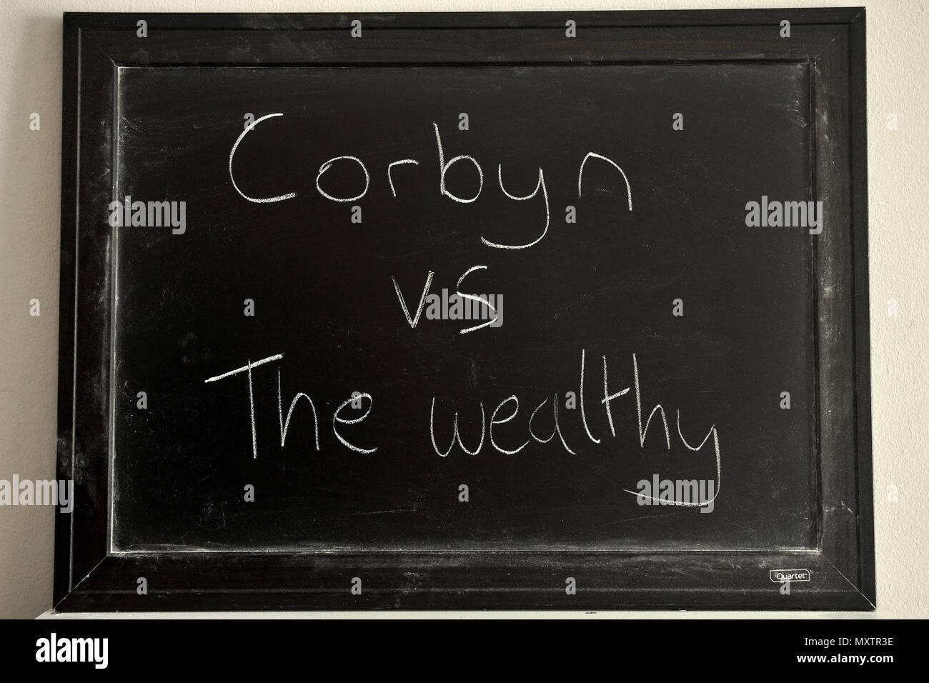 Corbyn vs die Wohlhabenden in weißer Kreide auf einer Tafel geschrieben. Stockbild