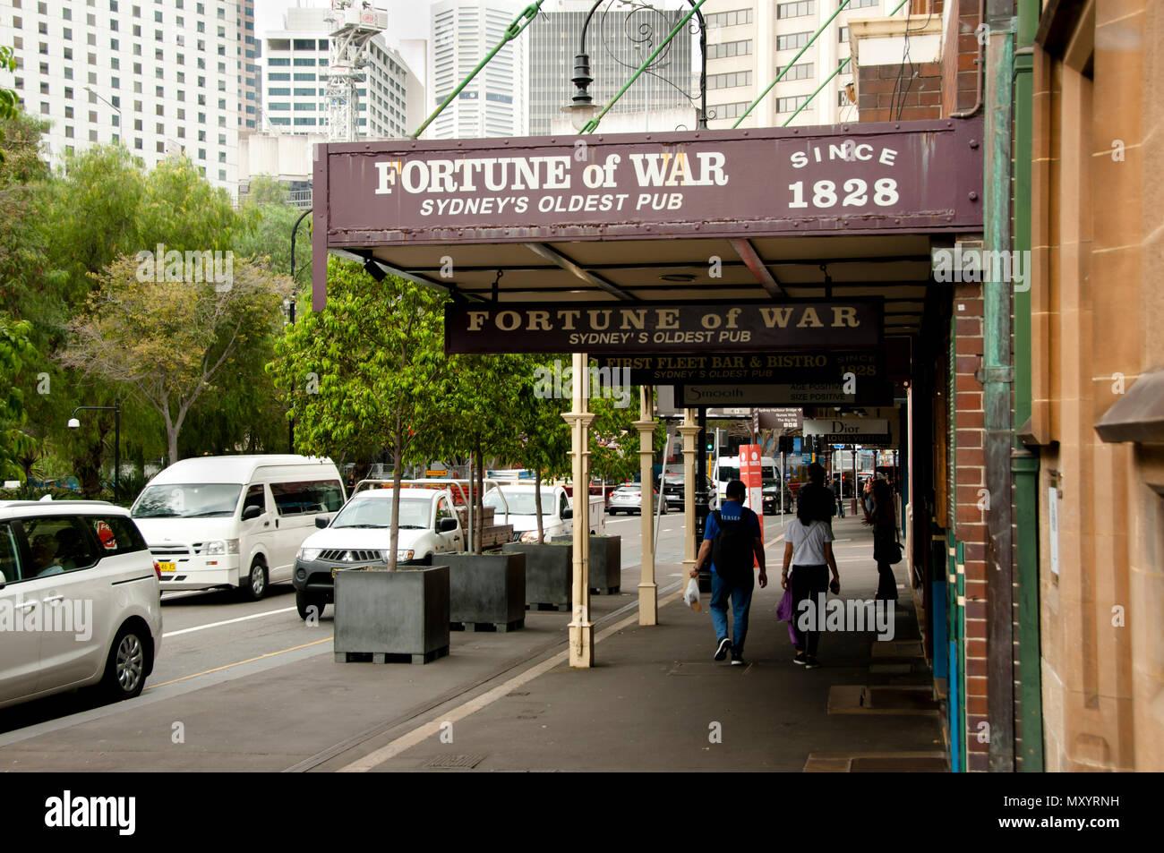 SYDNEY, AUSTRALIEN - 6. April 2018: das Glück des Krieges; Sydneys ältesten Pub Stockbild