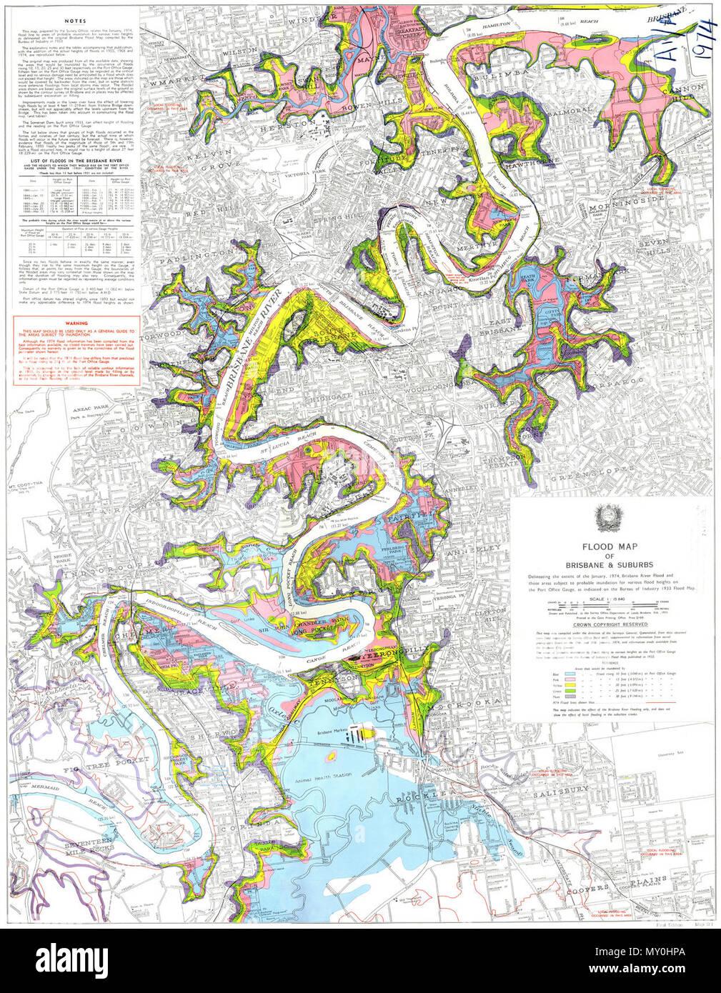 Karte Australien Und Umgebung.Flut Karte Von Brisbane Und Vorstädte Die Abgrenzung Der Umfang Der