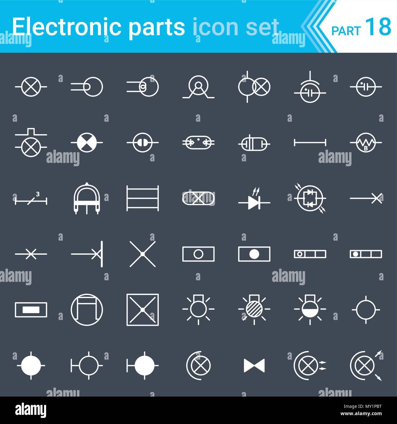 Elektrische und elektronische Icons, Schaltplan Symbole. Beleuchtung ...