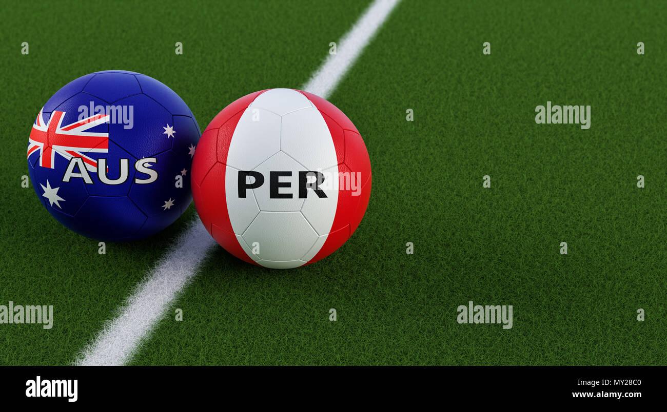 Peru gegen Australien Fußball Match - Fußball-Kugeln in Australien ...