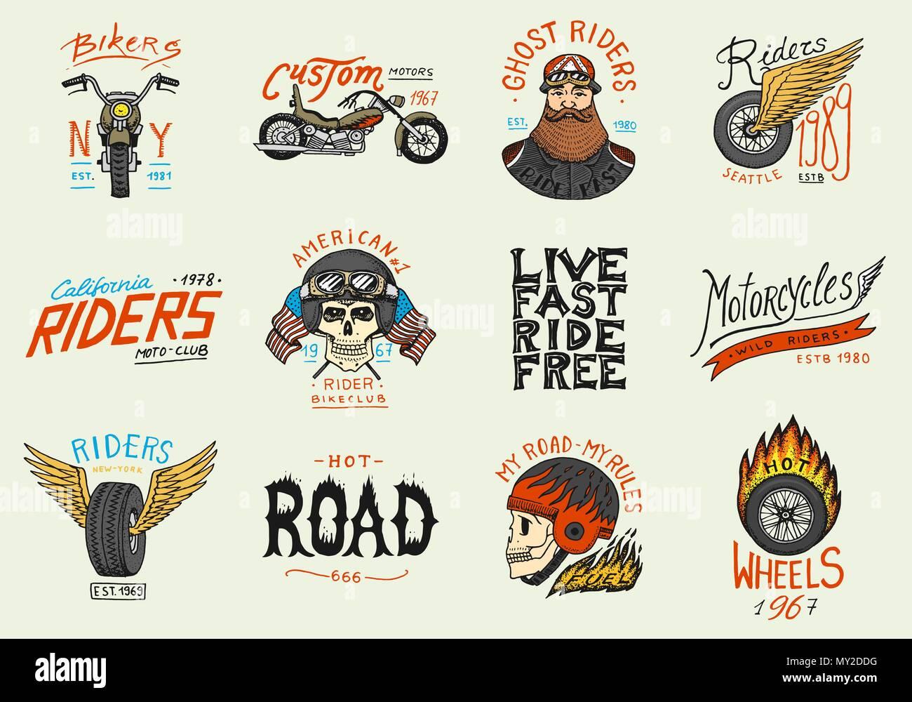 Motorräder und Biker club Vorlagen. Vintage custom Schädel Embleme ...