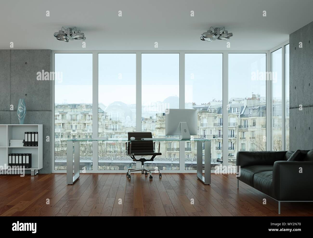 Moderne b ro innenarchitektur mit beton wand stockfoto for Modernes buro