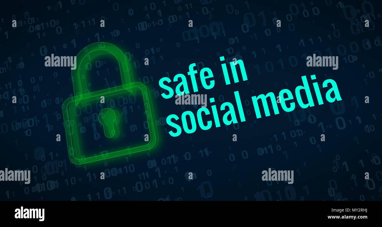 Sicher in Social Media mit grünen Vorhängeschlosssymbol auf digitalen Hintergrund abstrakte Konzept Stockbild