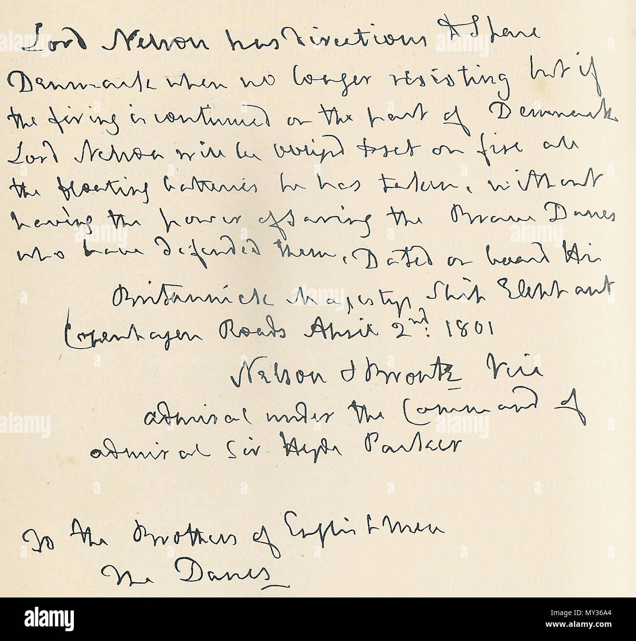 Englisch Nelsons Erstes Schreiben An Die Dänische Regierung