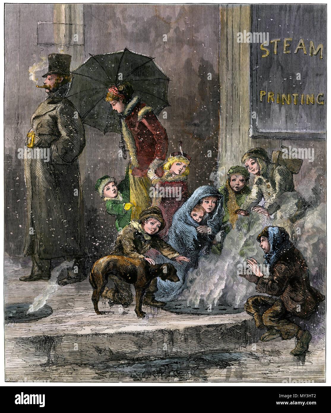 Armen Menschen warm sich über einen Bürgersteig Dampf in Manhattan vent, 1870. Hand - farbige Holzschnitt Stockbild
