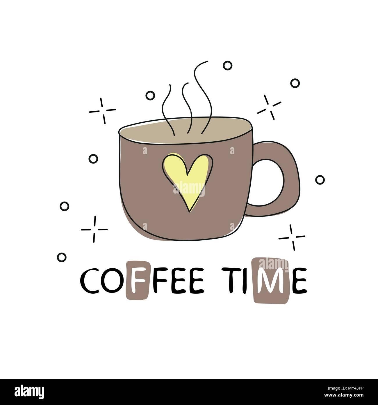 Vintage Kaffee Tasse Gezeichnet Skizze Stil Vector Illustration T