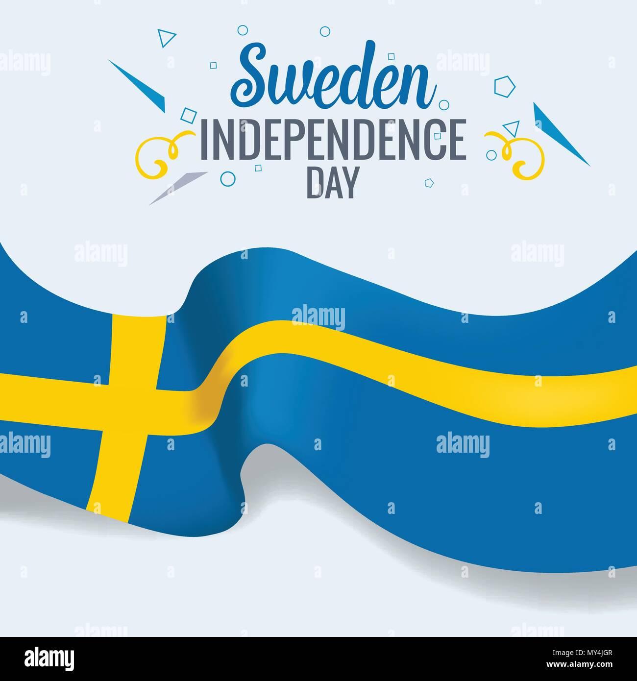 Schweden Unabhängig Tag Feier Banner Oder Poster Vector Template
