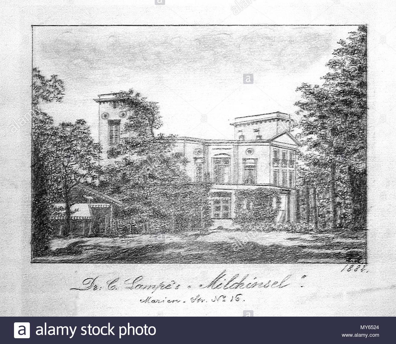 . English: Marienstraße 16 - Dr. Lampes Milchinsel (Bleistiftzeichnung). 1882. A. A. (Zeichner) 319 Leipzig Marienstraße 16. Stockbild