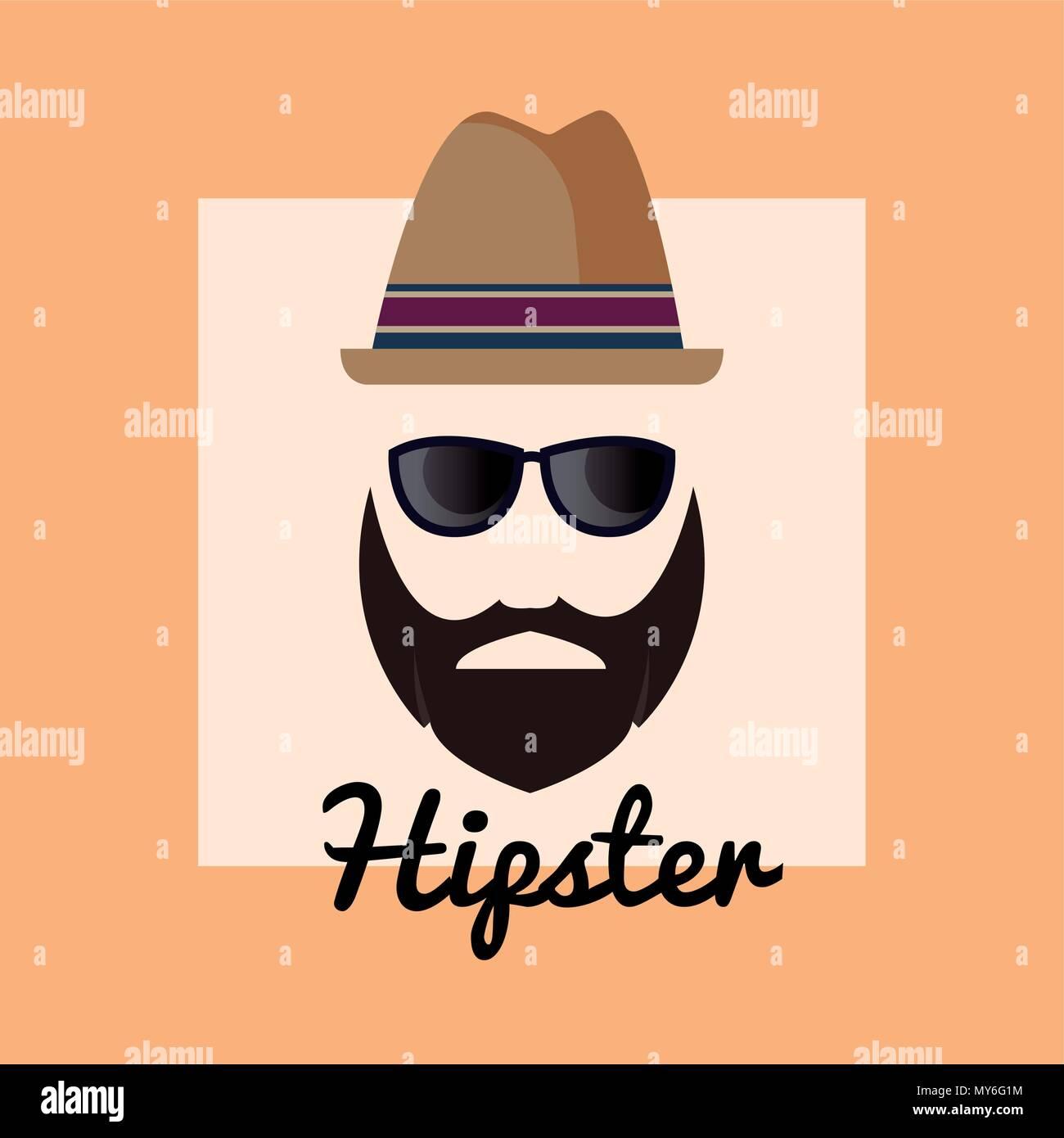 Hufthose Style Design Mit Mann Mit Hut Und Brille Uber Orange