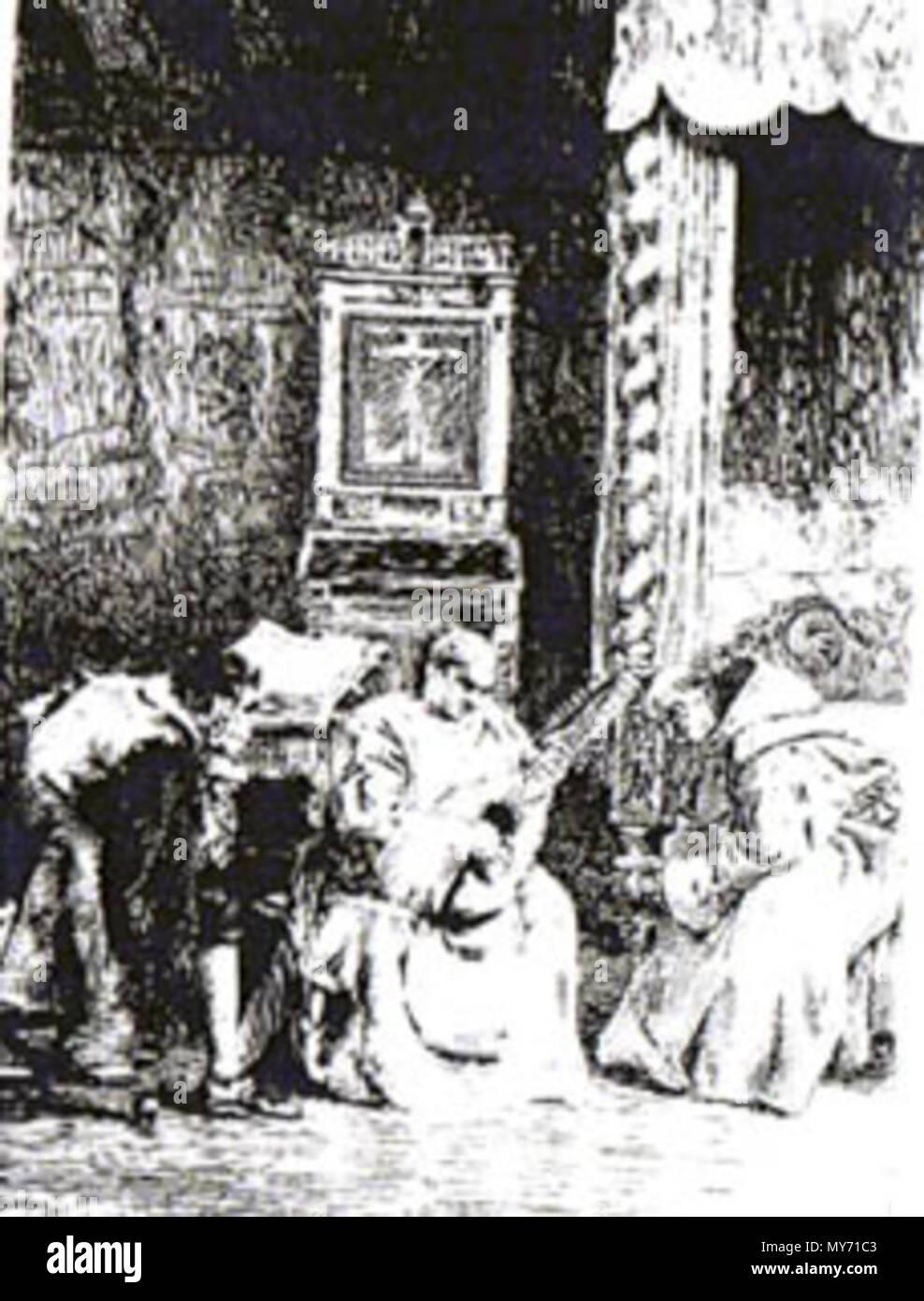 . Englisch: Es zeigt musikalisch begabten Vater Athanasio Musikinstrument spielen in Spanien. 1881. R. DE LOS RIOS 175 VATER ATHANASIO IN BACHELOR VON SALAMANCA Stockbild