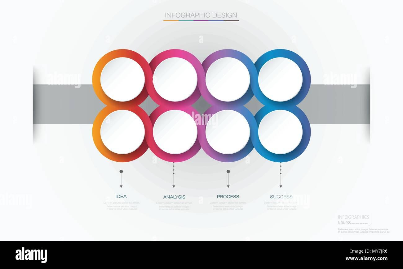Vektor Infografik 3d Kreis label Template Design. Infograph mit 8 ...