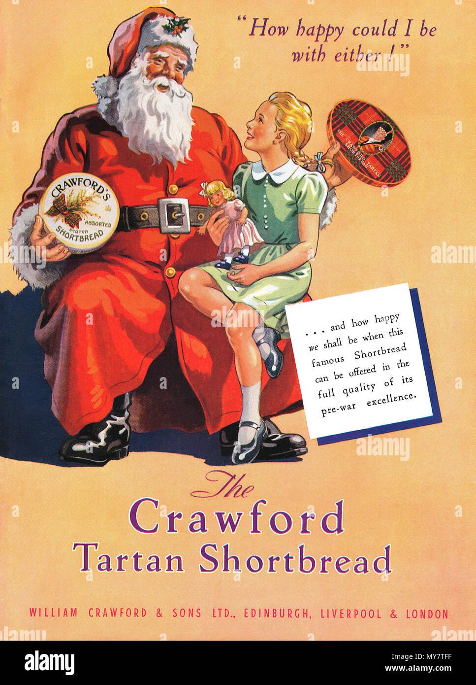 1950 britische Weihnachten Werbung für Crawford\'s Butterkekse ...