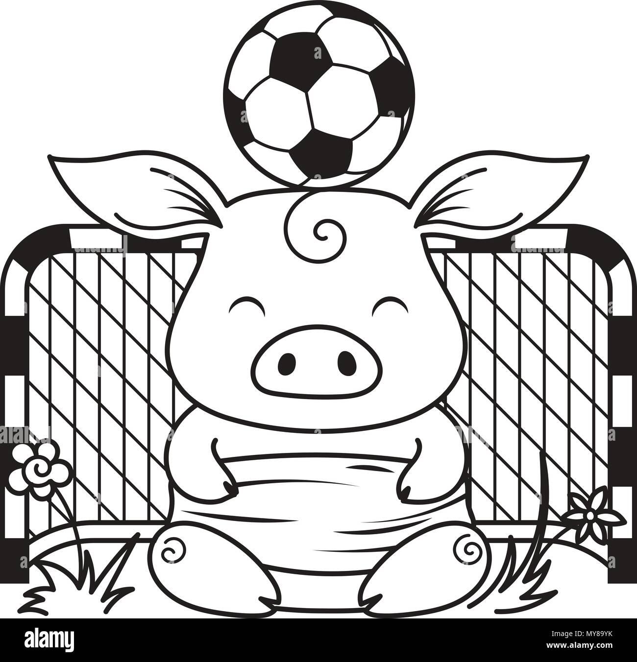 Cute cartoon Schwein mit einem Fußball. Vector Illustration. Färbung ...