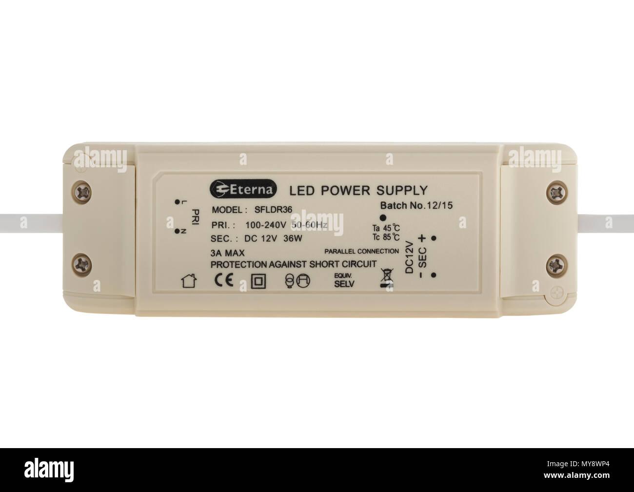 LED-Netzteil Trafo auf weißem Hintergrund Stockbild