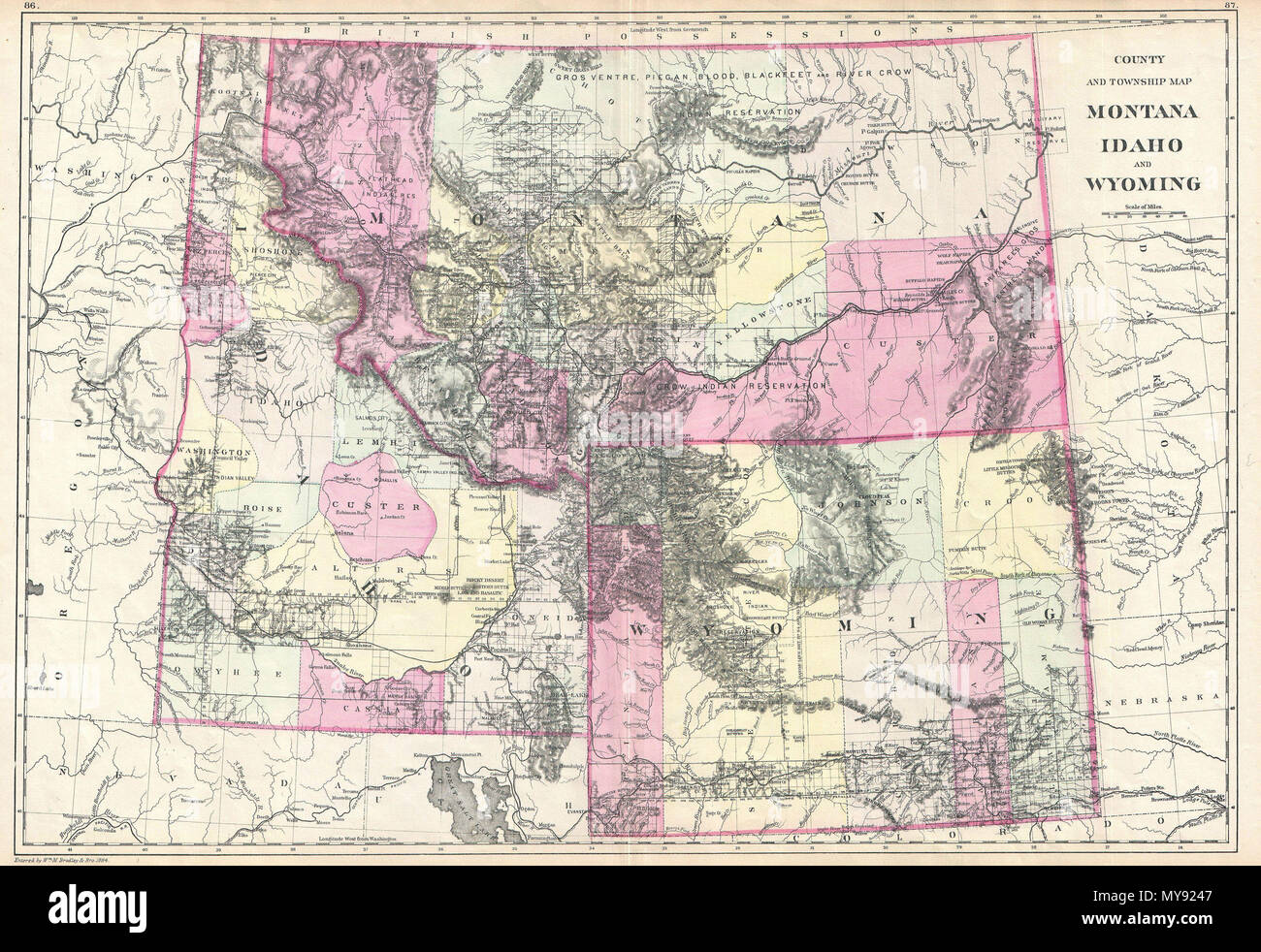 County Und Township Map Montana Idaho Und Wyoming Englisch