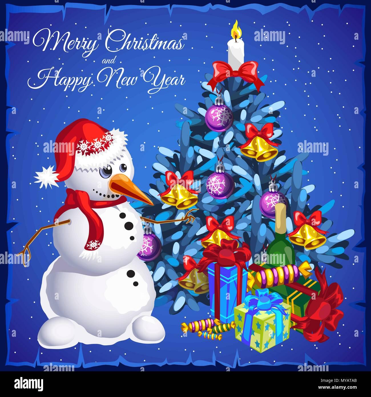 Vorlage Weihnachten Karte Schneemann In Der Nähe Weihnachtsbaum Mit