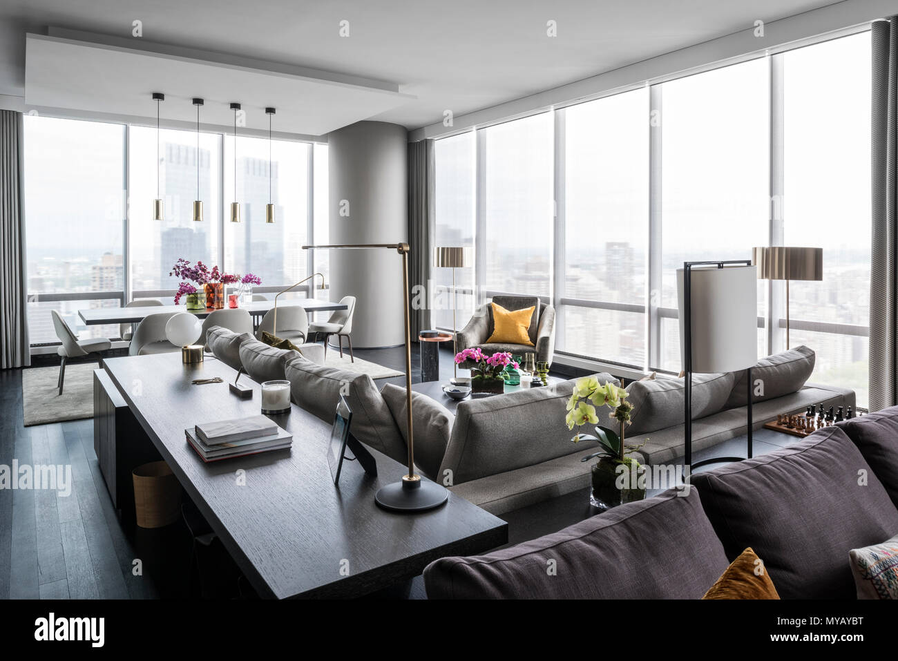 Wohnzimmer In Modernes Apartment In New York City Usa Stockfoto