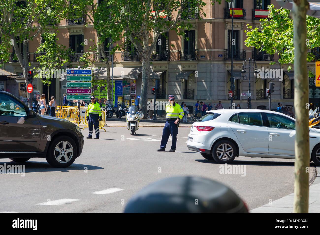 Verkehr Agenten in Madrid, Spanien Stockbild