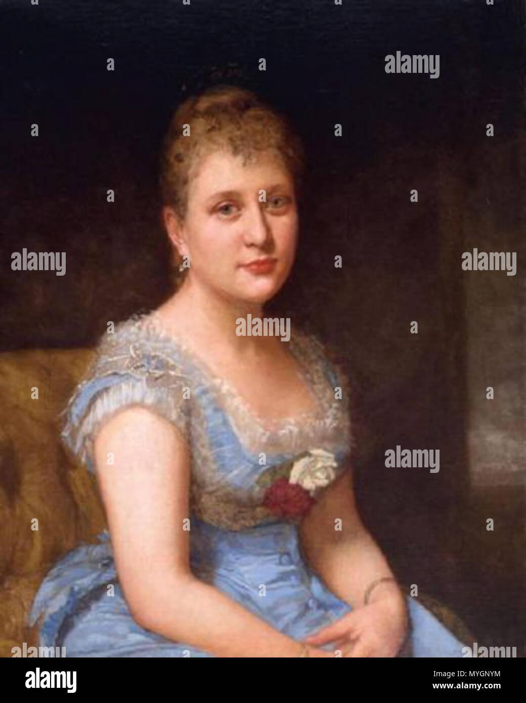 englisch: porträt einer frau, ein blaues kleid mit weißer