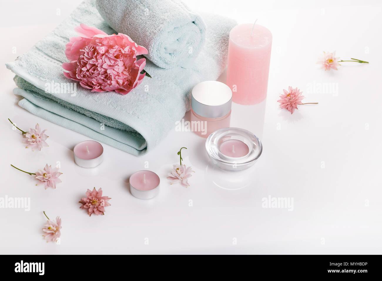 Wellness Dekoration, Spa-Konzept in den Valentinstag Stockbild