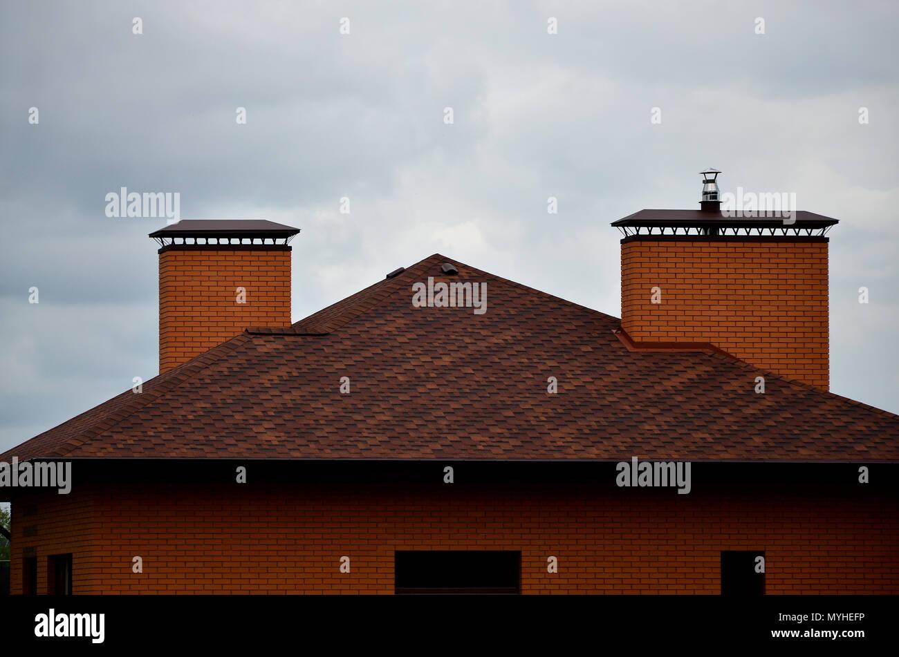 detail roof shingles chimney stockfotos detail roof. Black Bedroom Furniture Sets. Home Design Ideas