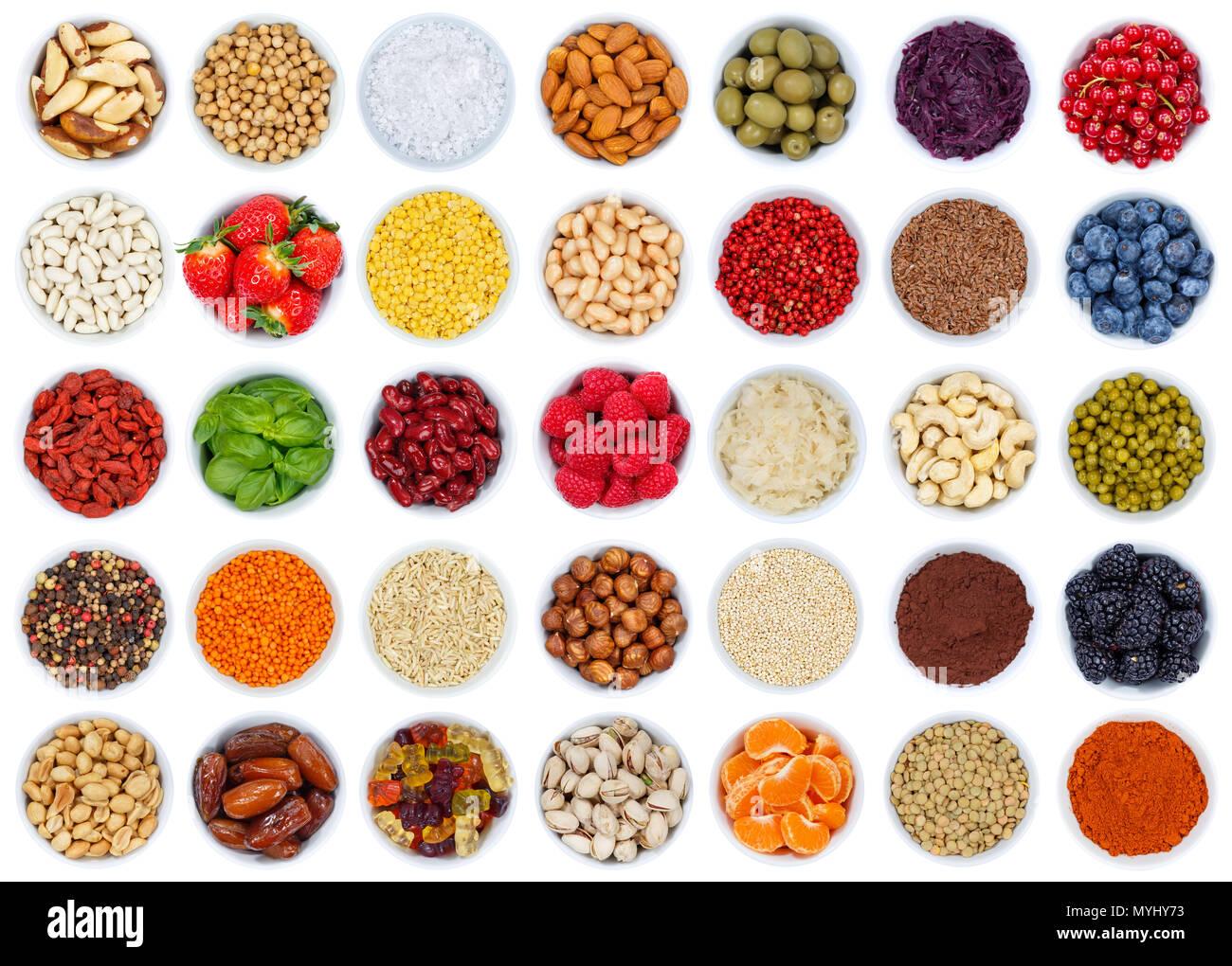Sammlung von Obst und Gemüse Beeren von oben auf weißem Hintergrund Stockbild