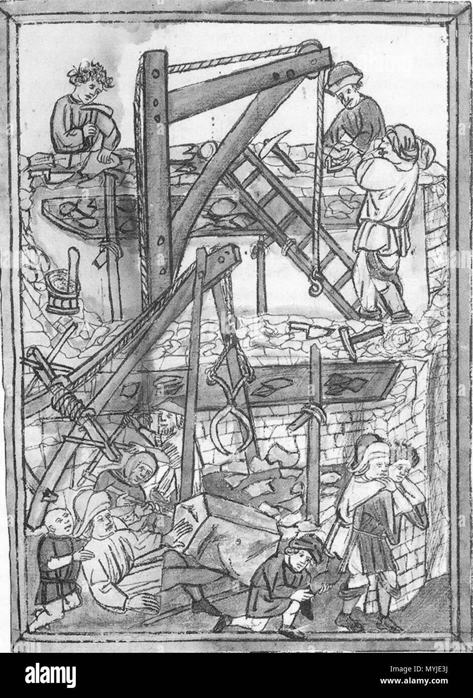 . Legende der Heiligen Wiborada Unfall auf Baustelle. Ende 15. Jahrhundert. Unbekannt 14 32 Baumaschinen Stockbild