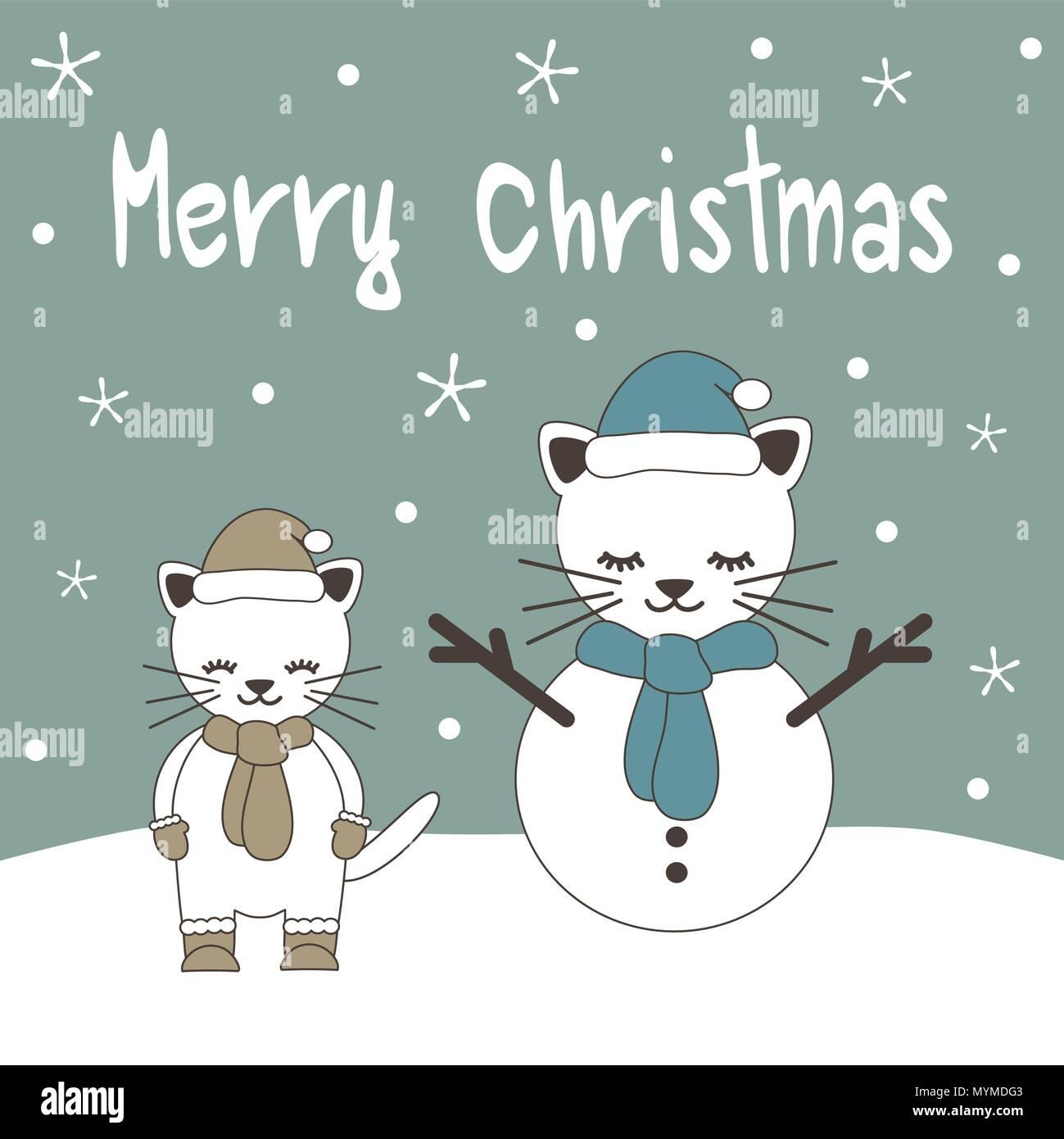 Frohe Weihnachten Katze.Cute Cartoon Hand Gezeichnet Frohe Weihnachten Vektor Grußkarte Mit