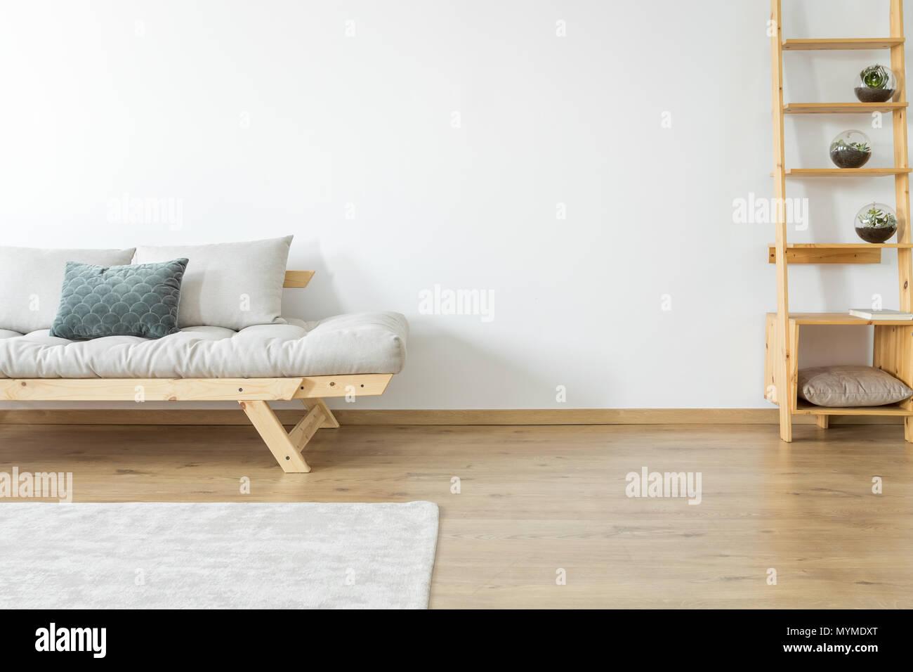 Kopieren Raum Der Weissen Wand Und Teppich Auf Dem Boden In Beige
