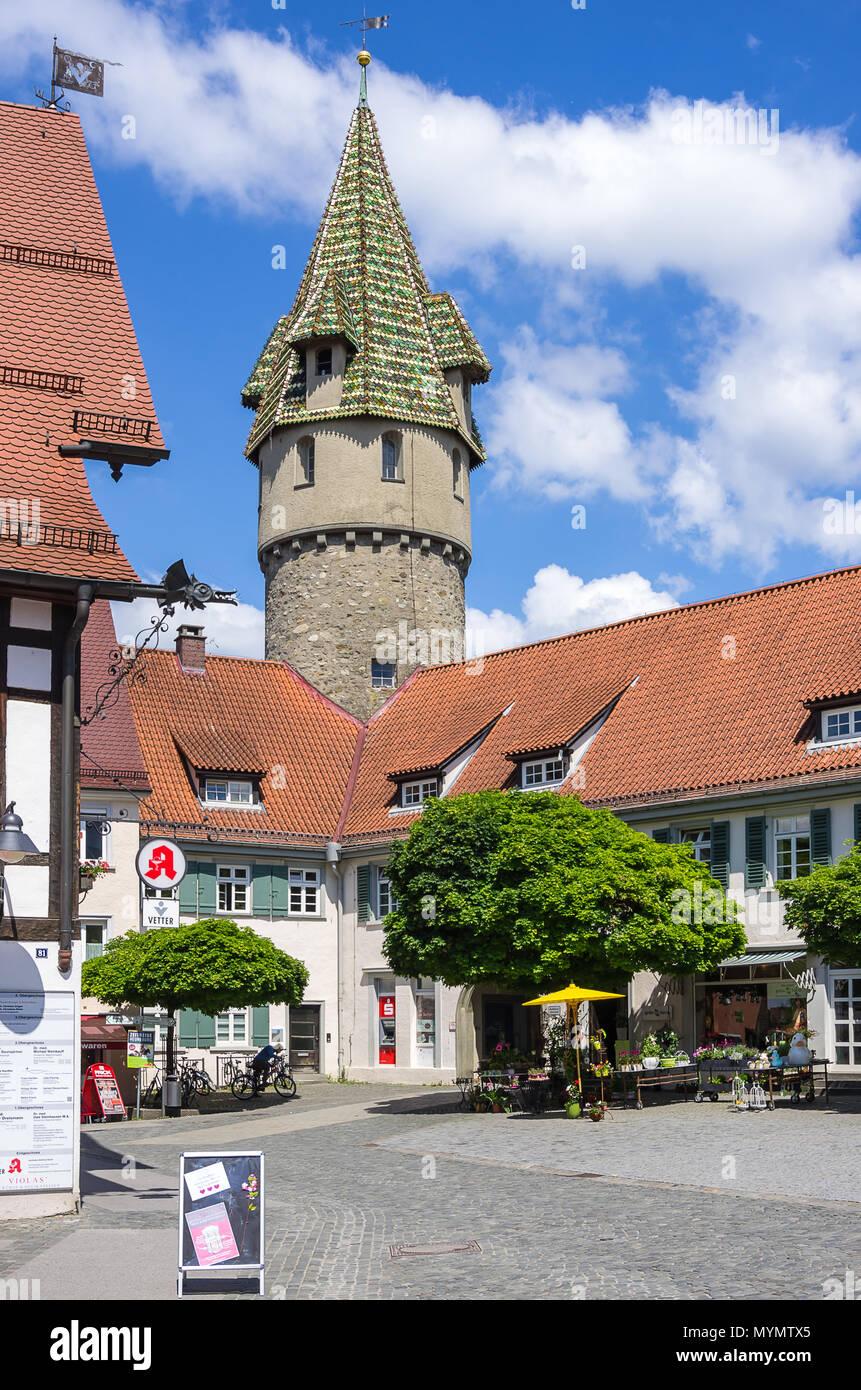 Der grüne Turm, Ravensburg, Baden-Württemberg, Deutschland. Stockbild