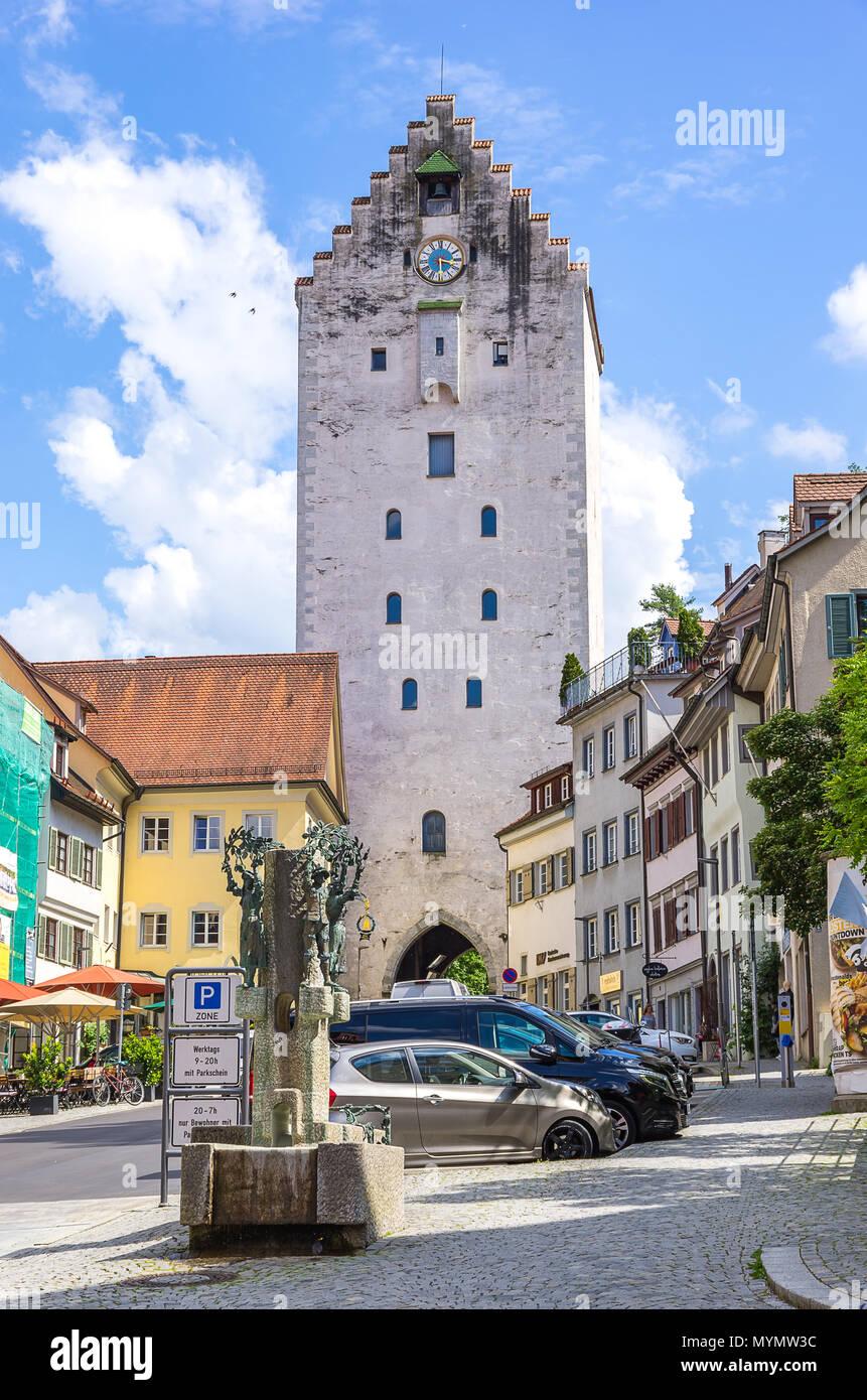 Ravensburg, Baden-Württemberg, Oberschwaben, Deutschland - die Suche nach der Market Street (marktstraße) zum obertor City Gate. Stockbild