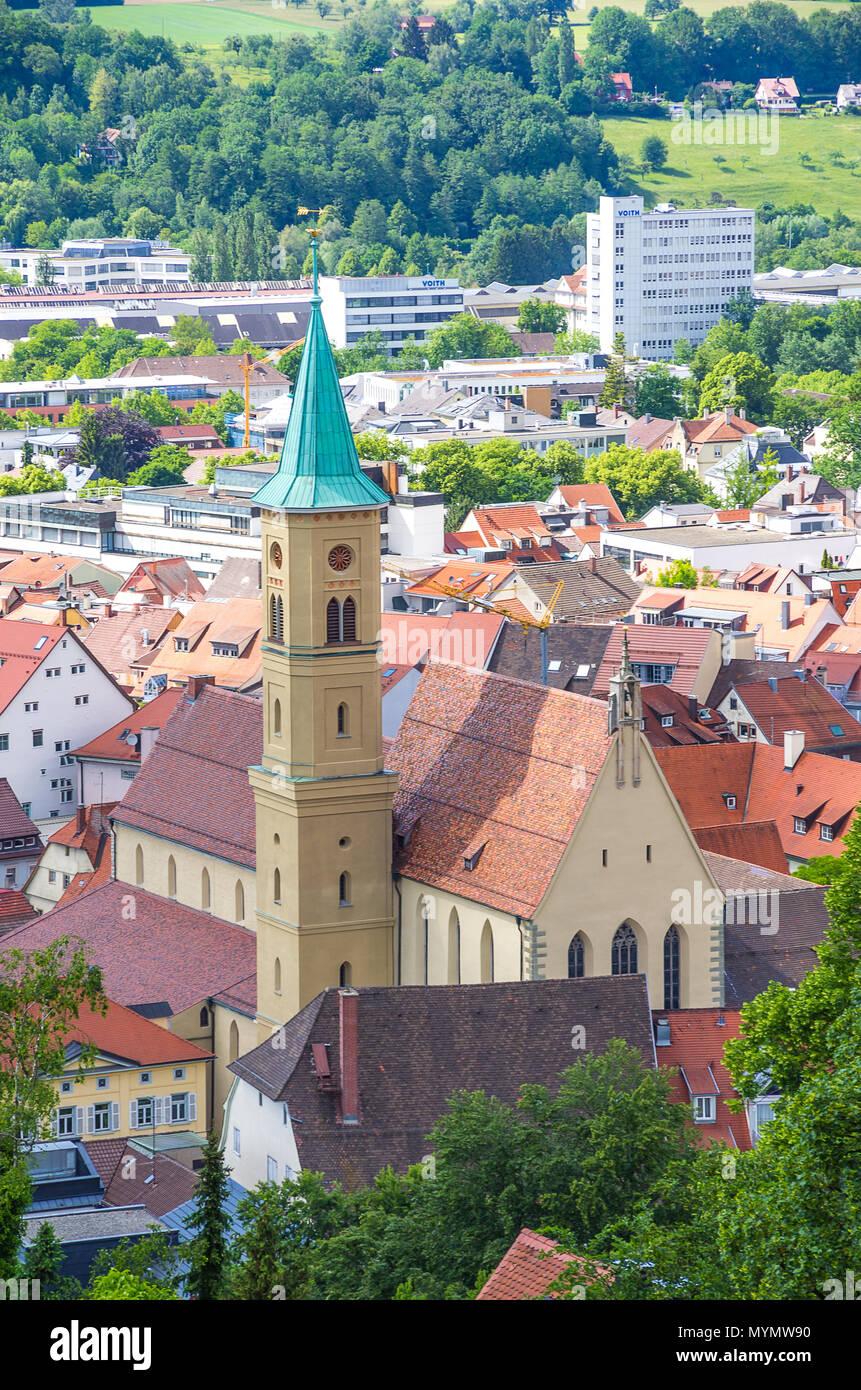 Blick von der Burg auf die Veitsburg Amtsgericht und ehemalige Kloster der Karmeliterinnen. Stockbild