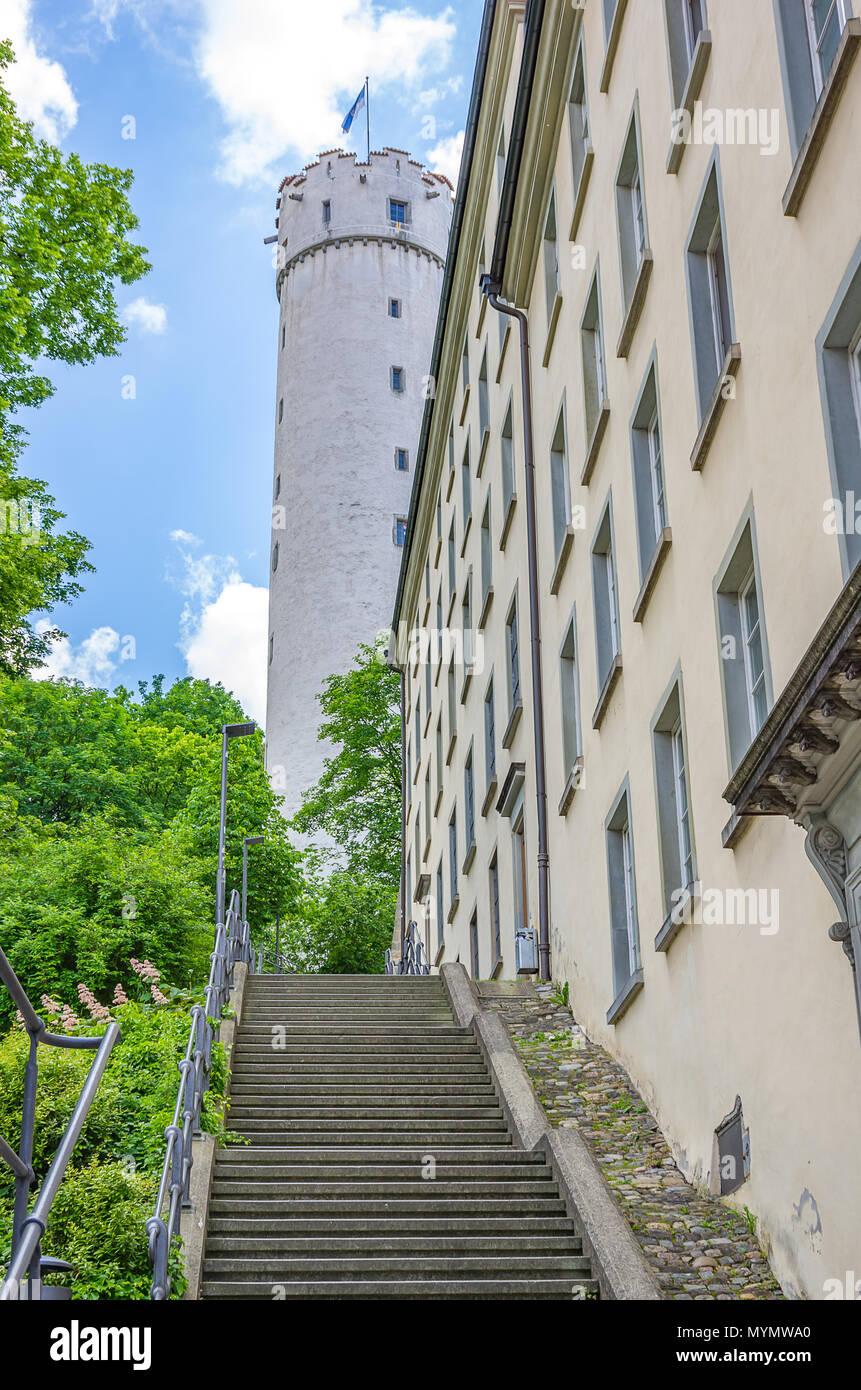 Ravensburg, Baden-Württemberg, Oberschwaben, Deutschland - Treppen bis zu Mehlsack Tower. Stockbild