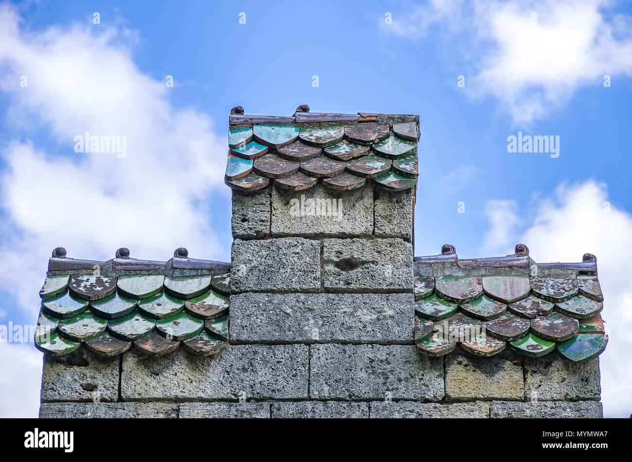 Krähe - stufengiebel mit Ziegeldächern. Stockbild