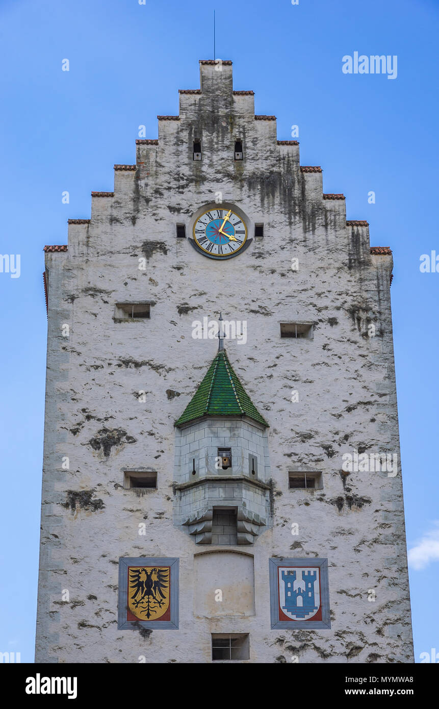 Ravensburg, Baden-Württemberg, Oberschwaben, Deutschland - Blick auf die mittelalterliche Obertor City Gate. Stockbild